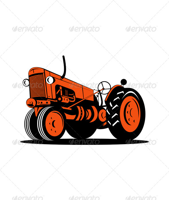 GraphicRiver Vintage Farm Tractor Side Isolated Retro 5220330