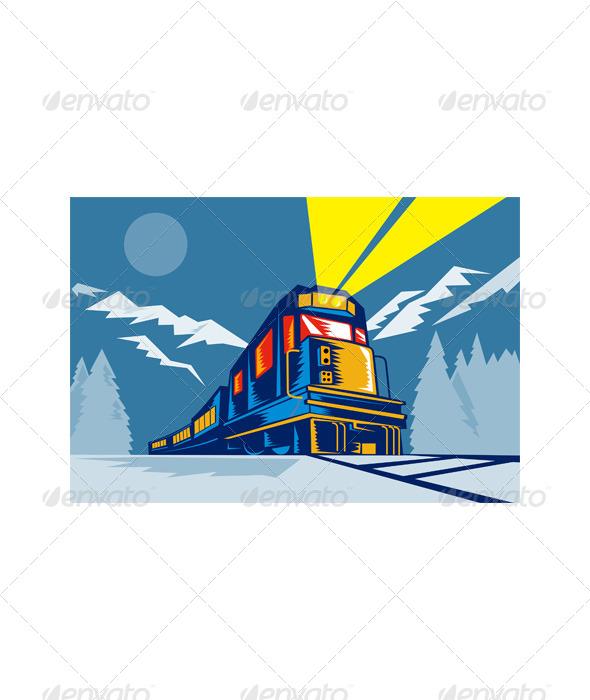 GraphicRiver Freight Train Alpine Scene Retro Woodcut 5220346