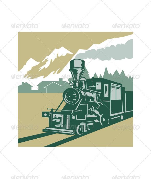 GraphicRiver Steam Train Locomotive Winter Scene Retro 5220429