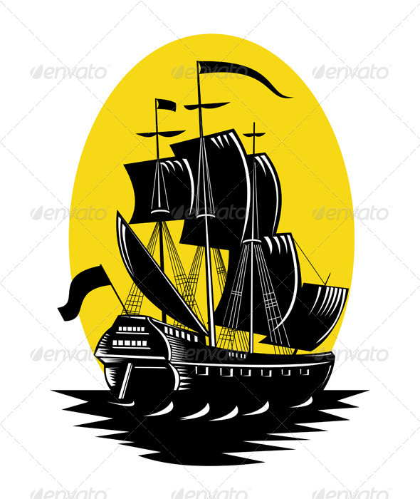 GraphicRiver Spanish Galleon Sailing Ship Woodcut 5220472