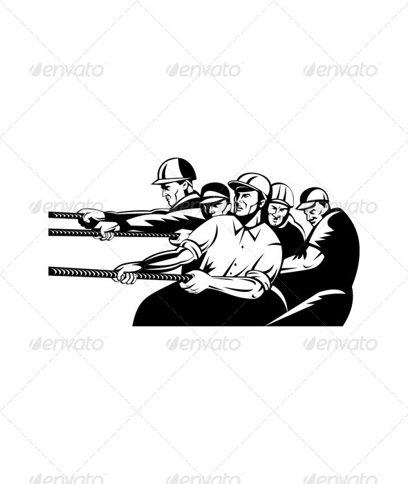 GraphicRiver Tug-of-War Construction Workers Black and White 5220496