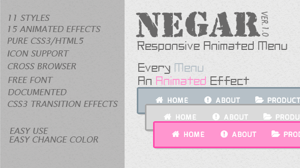 CodeCanyon Negar Responsive Animated Menu 5220514