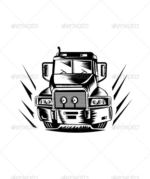 GraphicRiver Truck Front View Woodcut Black and White 5220668