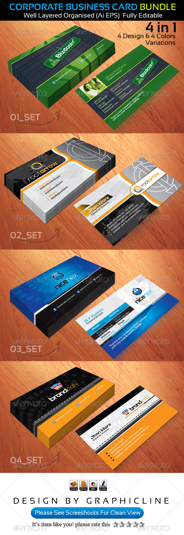 GraphicRiver Corporate Business Card Bundle 5221162