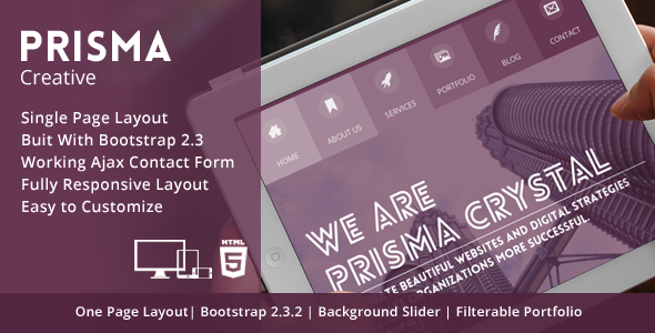 ThemeForest Prisma One page Responsive Creative HTML5 Theme 5189910