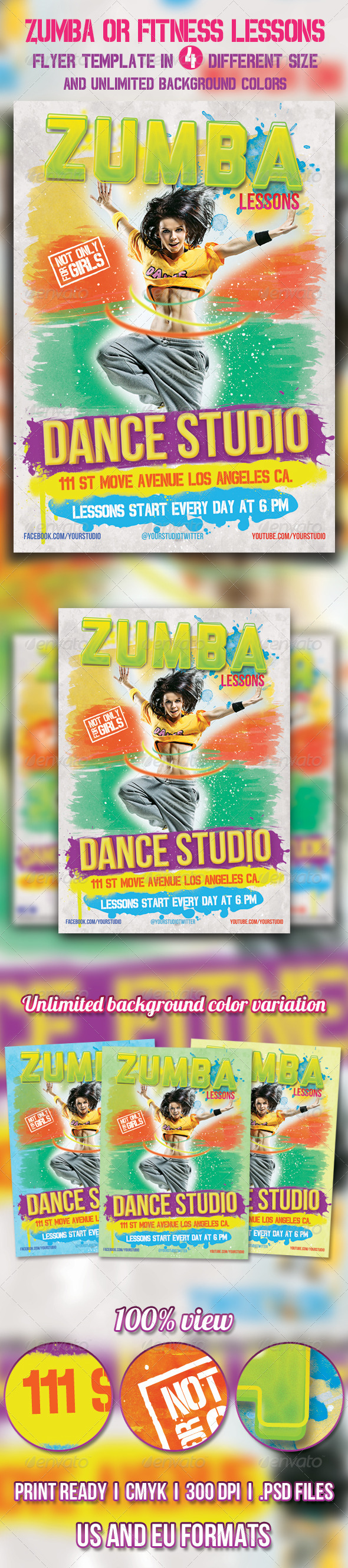 Zumba or Fitness lessons flyer - Sports Events