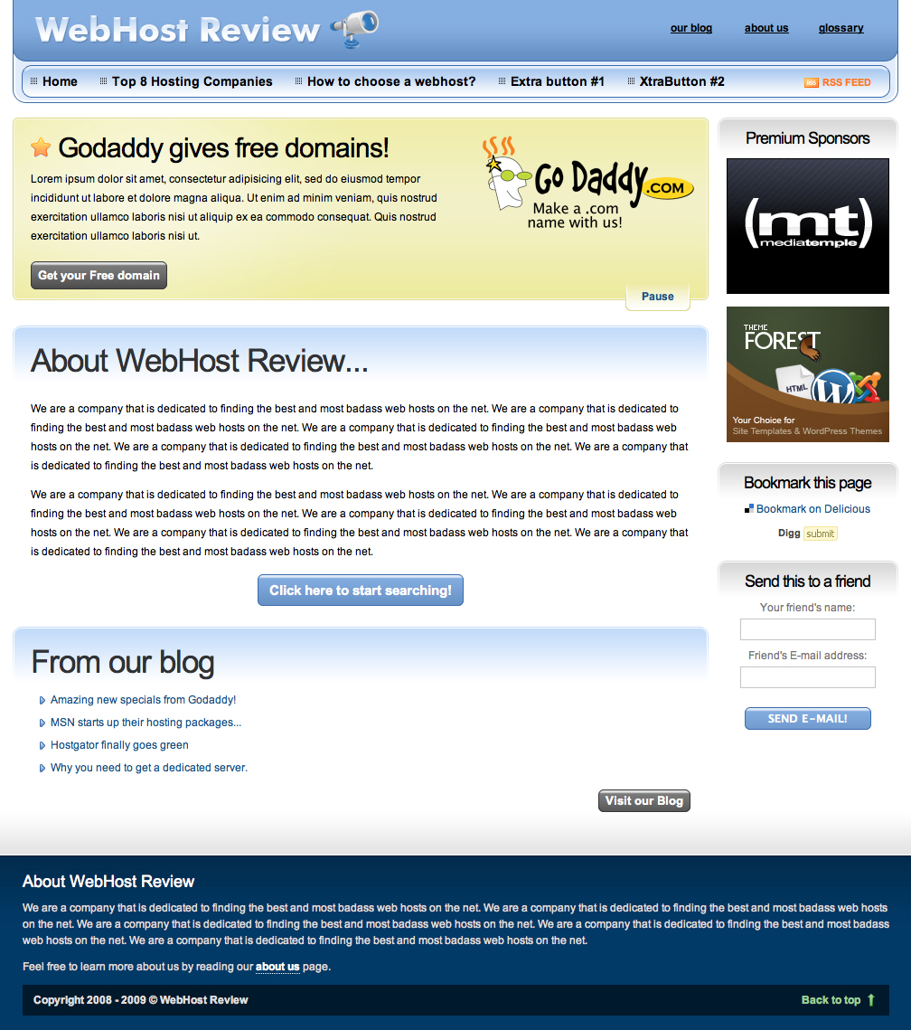 WebHOST - Review - This is the landing page. At the top there is a nifty content/specials slider that is easily editable.