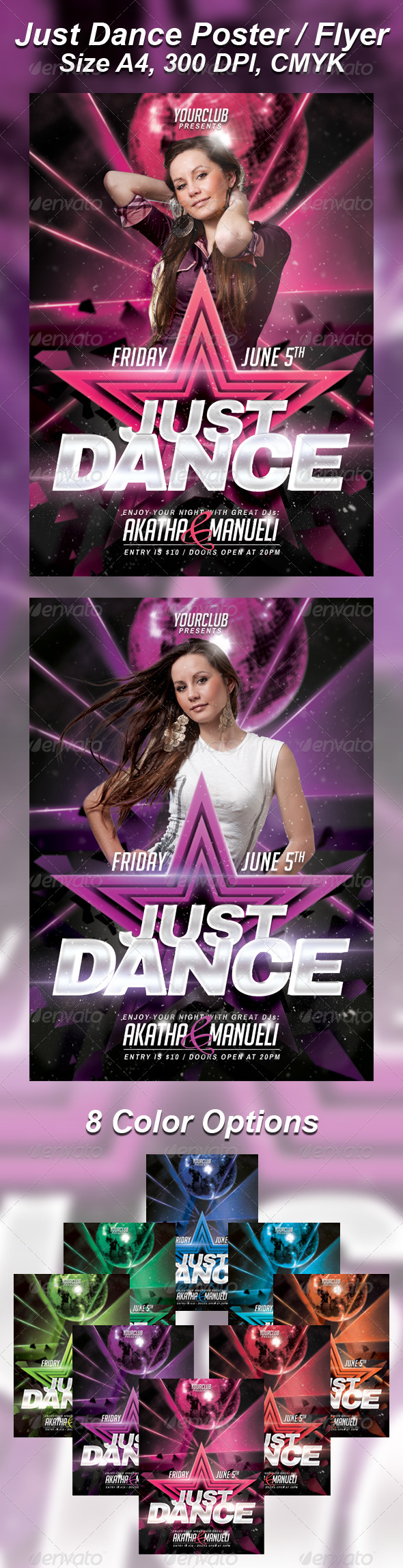 GraphicRiver A4 Just Dance Party Club Flyer 8in1 4604915