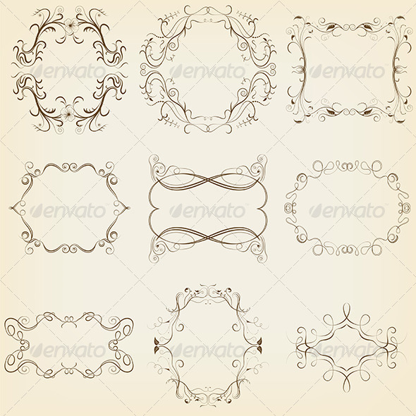 GraphicRiver Calligraphic and Floral Frames Set 5221900