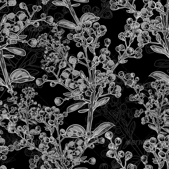 GraphicRiver Floral Monochrome Ornament with Branches 5221917