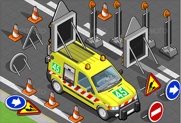 GraphicRiver Isometric Roadside Assistance Van in Front View 5221936