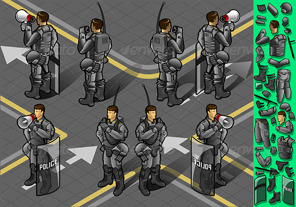 GraphicRiver Isometric Set of Eight Standing Policeman 5221940