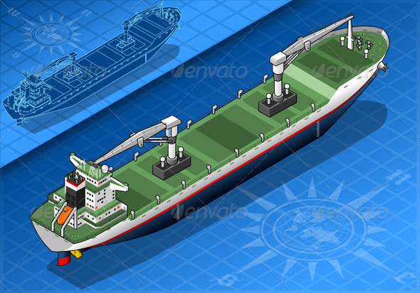 GraphicRiver Isometric Cargo Ship Isolated in Rear View 5221944