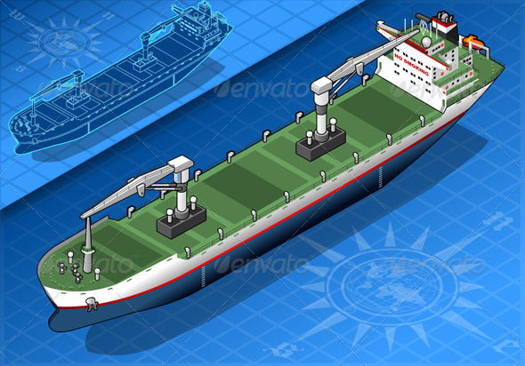 GraphicRiver Isometric Cargo Ship Isolated in Front View 5221955