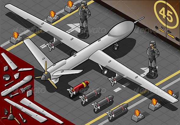 GraphicRiver Isometric Drone Airplane Landed in Rear View 5221978