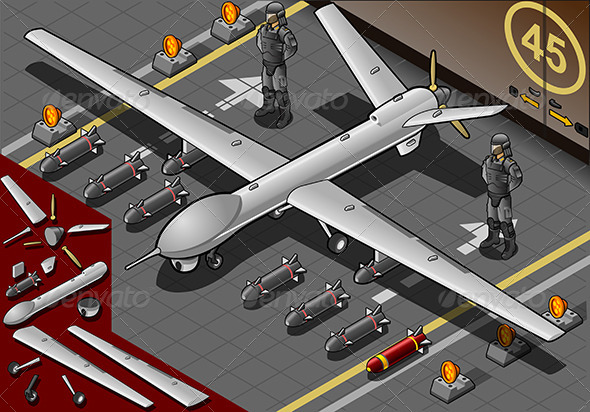 GraphicRiver Isometric Drone Airplane Landed in Front View 5221980