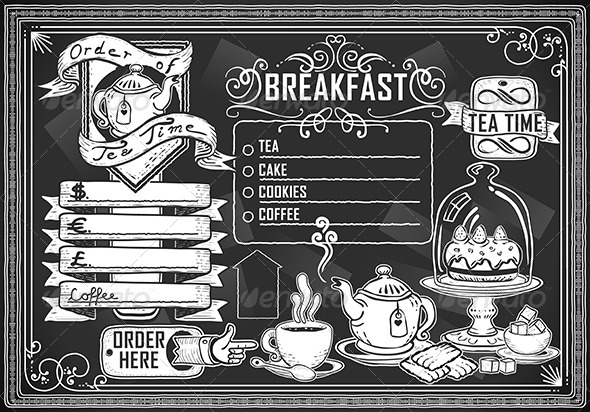 GraphicRiver Vintage Graphic Element for Menu on Blackboard 5221985