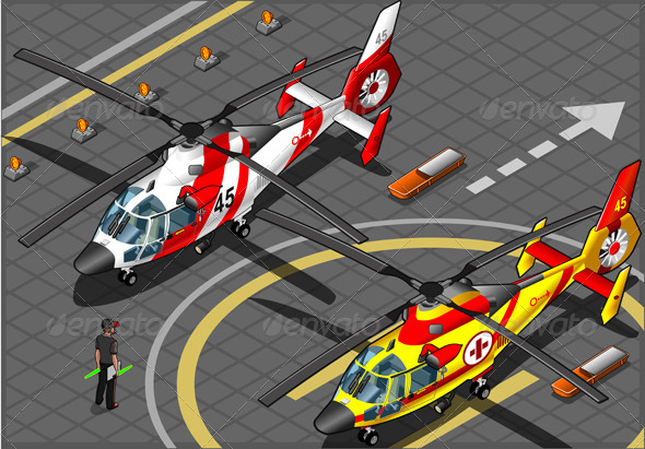 GraphicRiver Isometric Emergency Helicopters in Front View 5222080