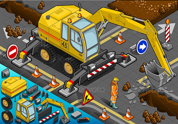 GraphicRiver Isometric Yellow Excavator with Four Arms 5222265