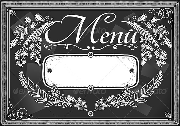 GraphicRiver Vintage Place Card Menu on Blackboard 5222307