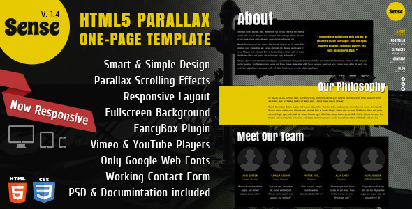 Sense – One-Page Parallax HTML5 & CSS3 Template | Themes Code Templates
