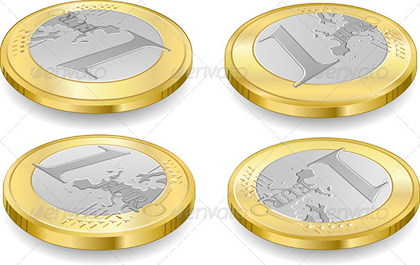 GraphicRiver Set of One Euro Coins Isolated on White 5223023