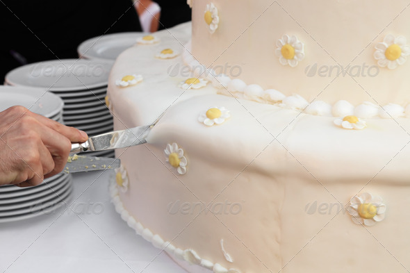 cutting wedding cake - Stock Photo - Images