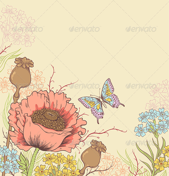 GraphicRiver Background with Poppy 5223363