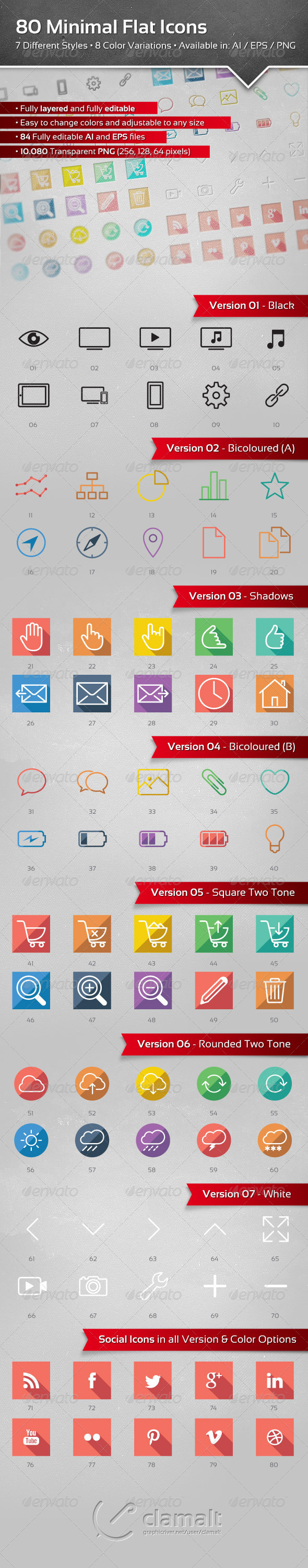 GraphicRiver 80 Minimal Flat Icons 5223652