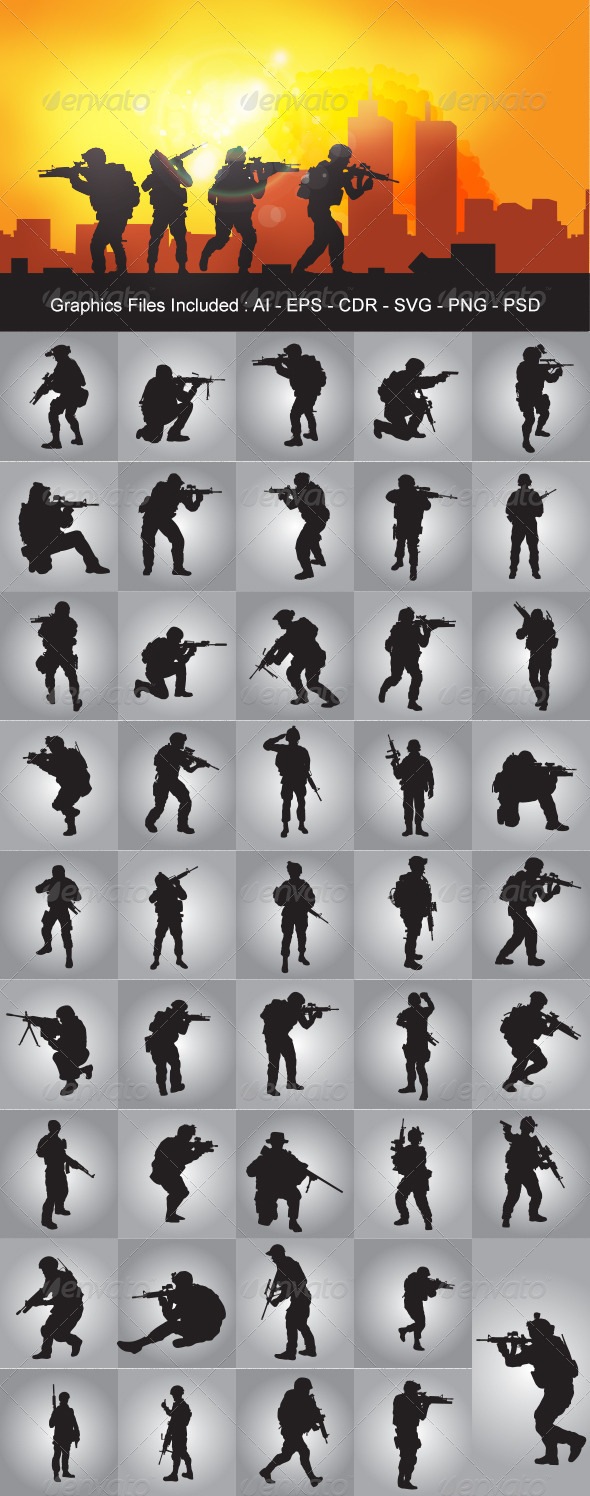 GraphicRiver Soldier Silhouettes 5223802