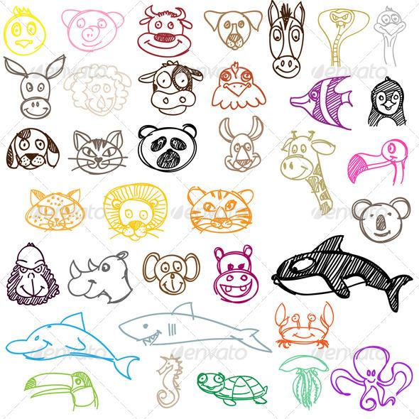 GraphicRiver Hand Drawn Animal Icons Set 5224056