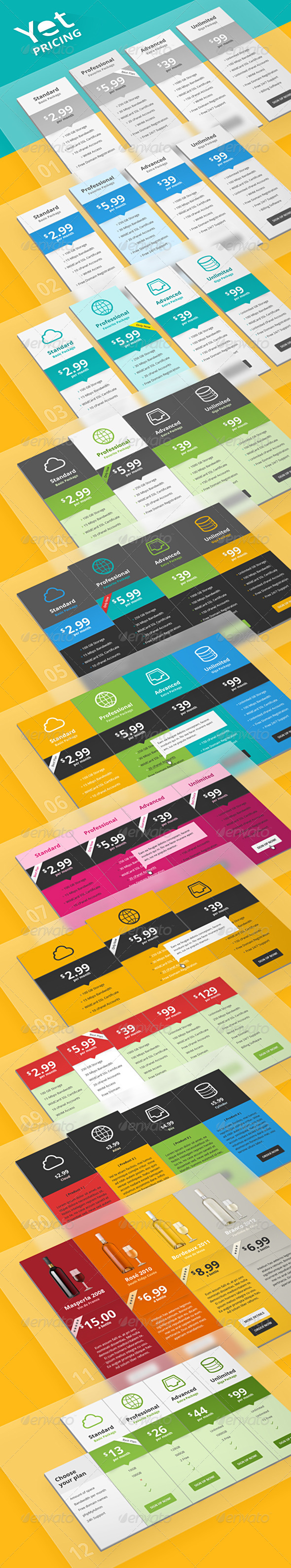 GraphicRiver Yet Pricing & Compare Tables 5224689