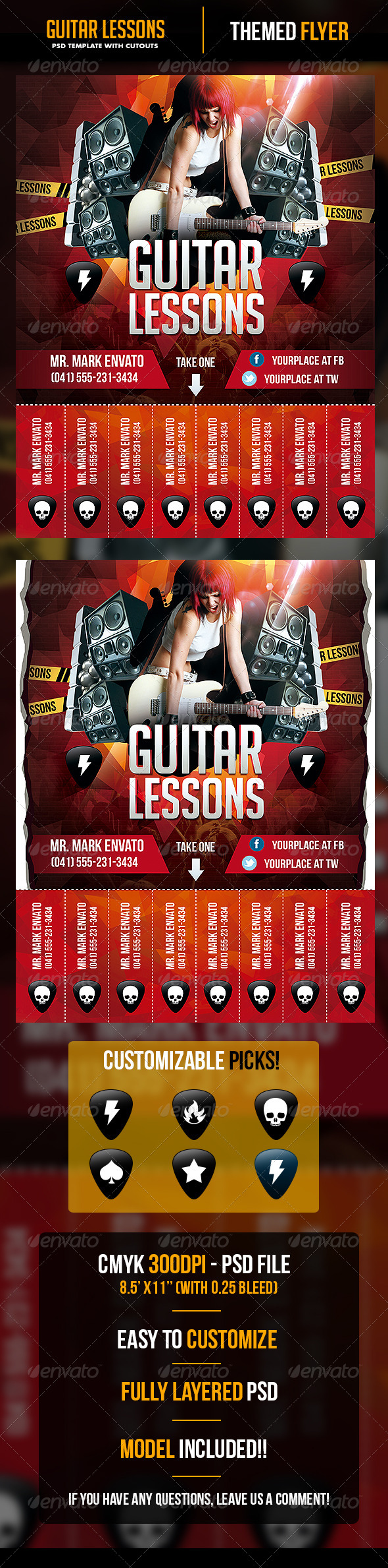 Guitar Lessons Flyer Template with Cutouts - Flyers Print Templates