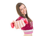 Happy young woman working out with pink dumbbell - PhotoDune Item for Sale