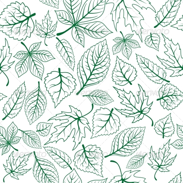 GraphicRiver Seamless Pattern of Green Leaves 5225392