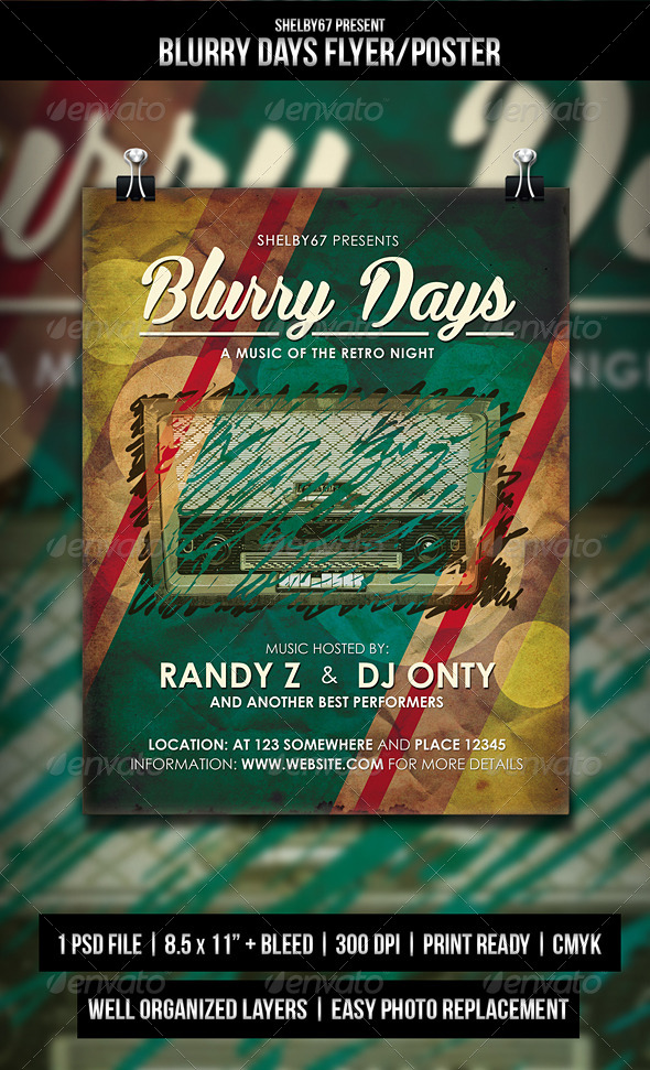 GraphicRiver Blurry Days Retro Flyer Poster 5166774