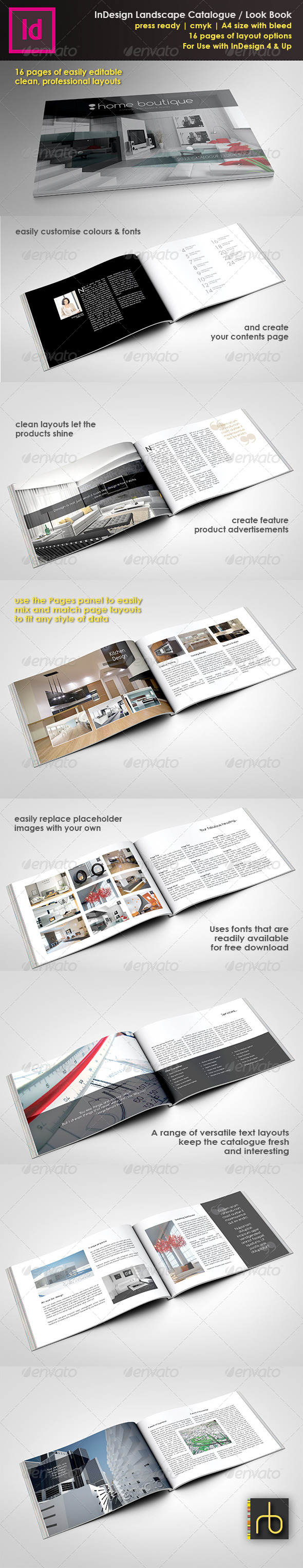 GraphicRiver A4 Landscape Brochure Look Book InDesign Template 5225789