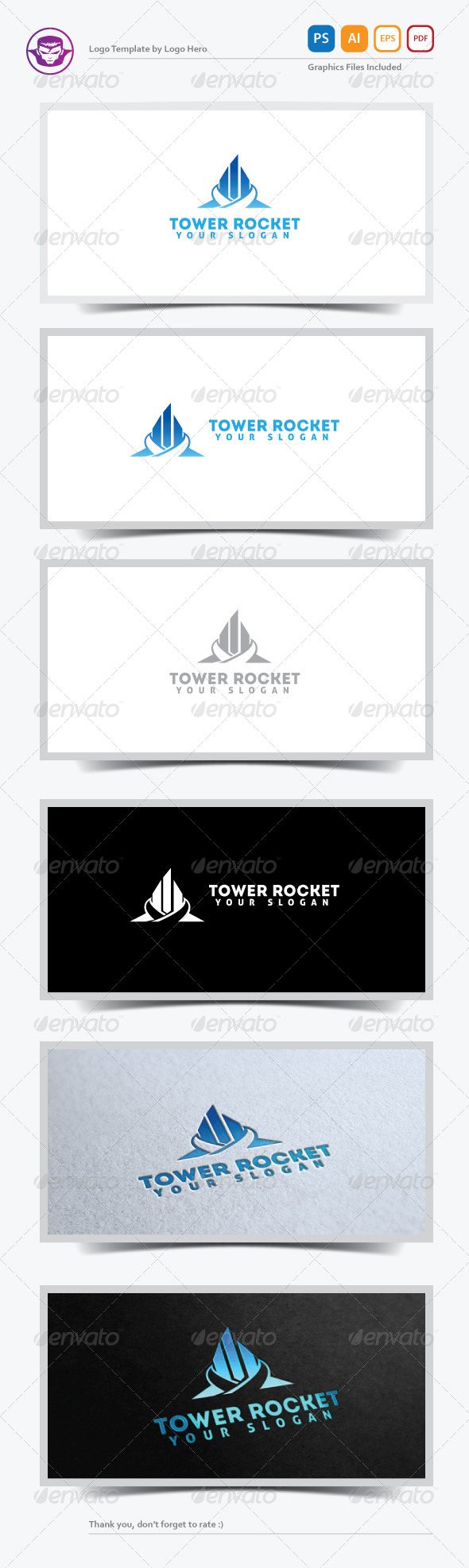 GraphicRiver Tower Rocket Logo Template 5225798