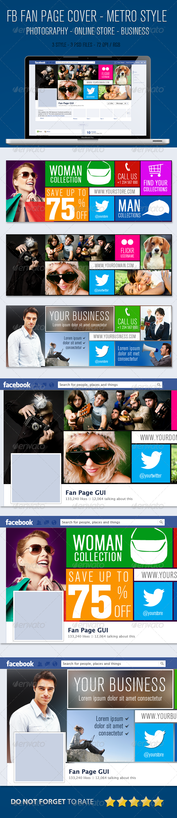 GraphicRiver Facebook Fan Page Timeline Cover Metro Style 5200863
