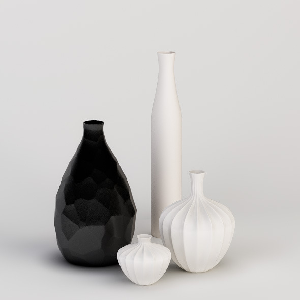3DOcean Decorative Vases Set 3D Models -  Deco Objects 537501