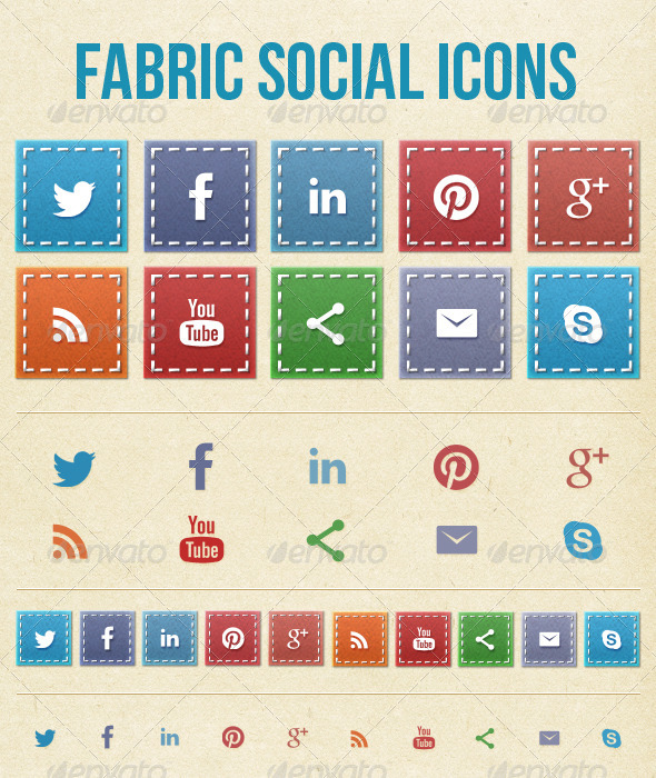 GraphicRiver Fabric Social Media Icons 5227481