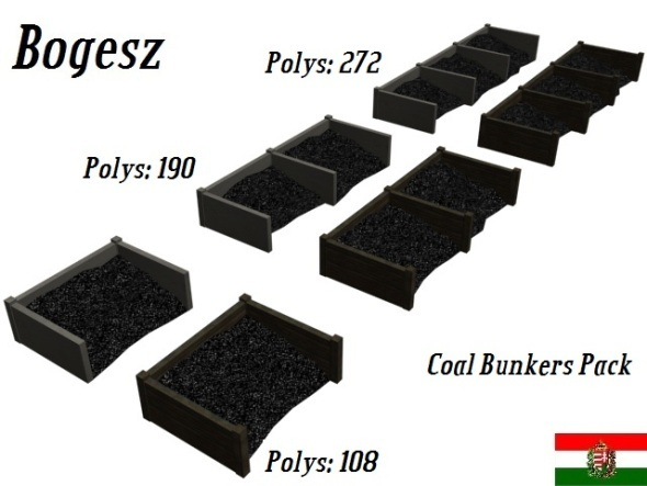 Textured Coal Bunkers Pack Low Poly