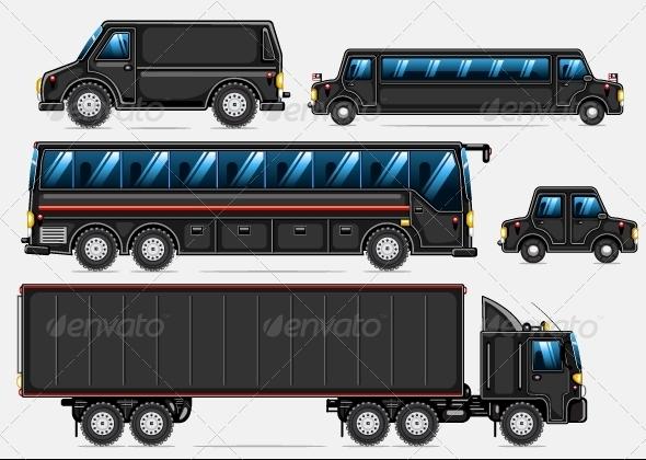 GraphicRiver Black Transport Set 5227668