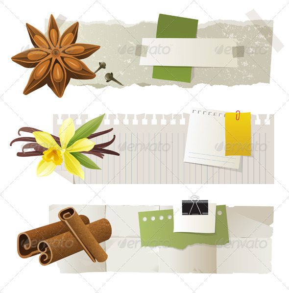 GraphicRiver Banners with Anise Vanilla and Cinnamon 5227861