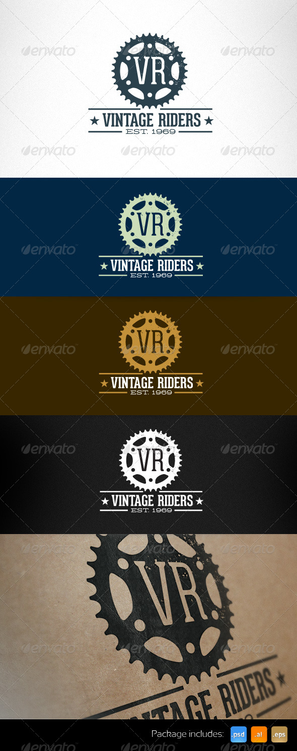 Vintage Riders Bike Gear Retro Logo Template - Objects Logo Templates