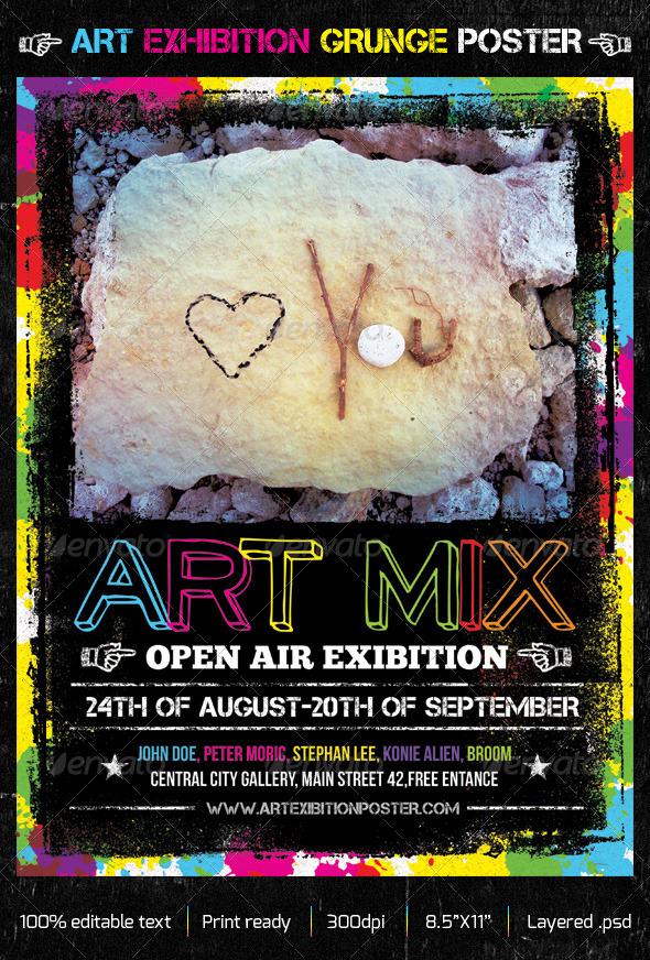 GraphicRiver Art Exhibition Grunge Creative Poster 5147348
