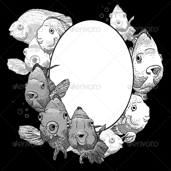 GraphicRiver Monochrome Frame with Fish 5228603