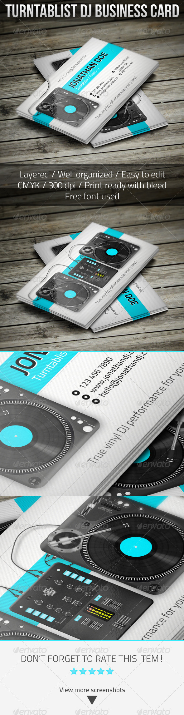 Turntablist DJ Business Card - Industry Specific Business Cards