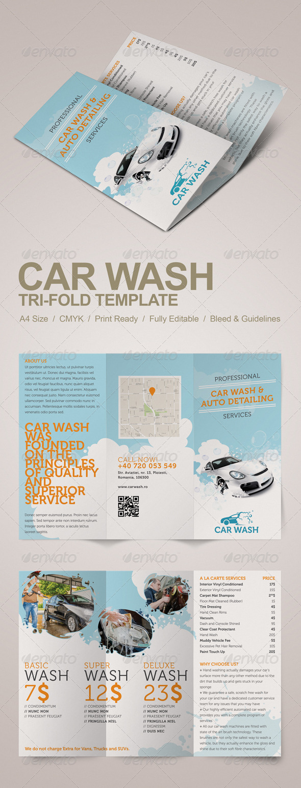 GraphicRiver Car Wash Tri-fold Brochure 5228824