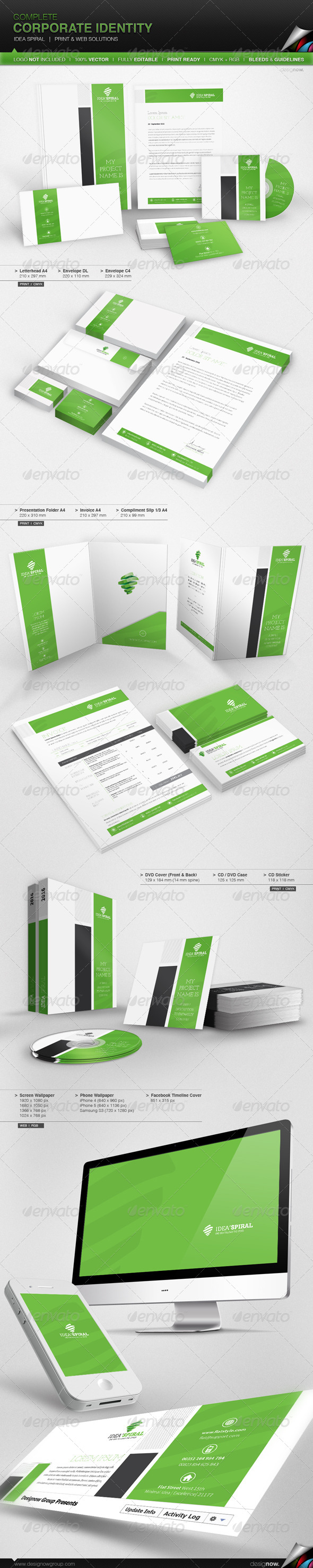 Corporate Identity - Idea Spiral - Stationery Print Templates